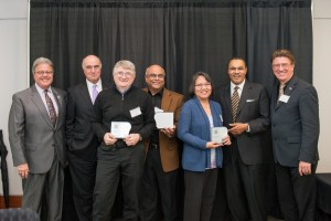 From left to right: Robert Caret, Michael Gill, Dan Kostov, Govind Rao, Leah Tolosa, Freeman Hrabowski, Karl Steiner
