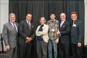From left to right: Robert Caret, Freeman Hrabowski, Lynn Sparling, Patrick Langan, Michael Gill, Karl Steiner