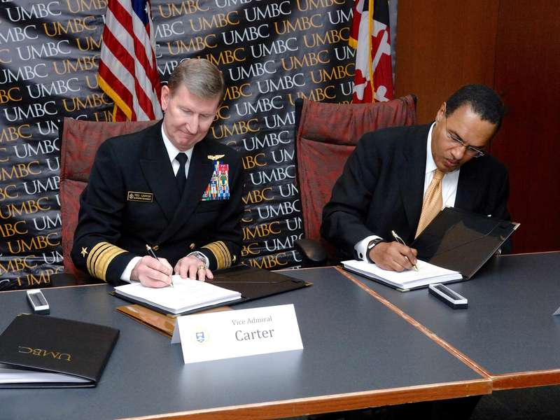 UMBC Formalizes Research Partnership with U.S. Naval Academy